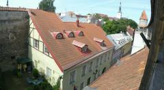Tilt up to Tallinn in Estonia from city wall Stock Footage