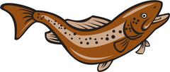 Brown Spotted Trout Jumping Cartoon - stock illustration