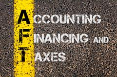 Business Acronym AFT as Accounting Financing and Taxes Stock Photos