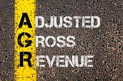 Business Acronym AGR as Adjusted Gross Revenue Stock Photos