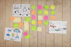 Brainstorm wall in creative office - stock photo