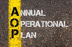 Business Acronym AOP as Annual Operational Plan - stock photo