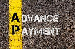 Business Acronym AP as Advance Payment - stock photo