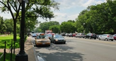 Ambulance Races Past Camera in Washington DC Stock Footage