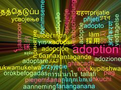 Adoption multilanguage wordcloud background concept glowing - stock illustration