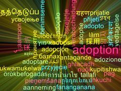 Adoption multilanguage wordcloud background concept glowing Stock Illustration