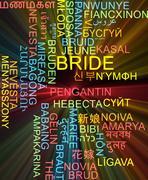 Bride multilanguage wordcloud background concept glowing - stock illustration
