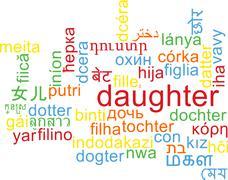 Daughter multilanguage wordcloud background concept Stock Illustration