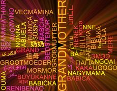 Stock Illustration of Grandmother multilanguage wordcloud background concept glowing