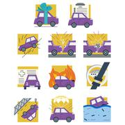 Auto insurance colored flat vector icons - stock illustration