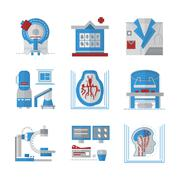 MRI flat color vector icons - stock illustration