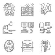 Flat line vector icons for CT scan. MRI Stock Illustration