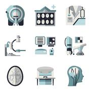 Flat color vector icons for CT scan. MRI Stock Illustration