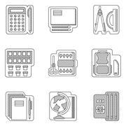 School subjects flat line vector icons - stock illustration