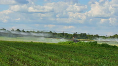 Irrigation fertile field. Stock Footage