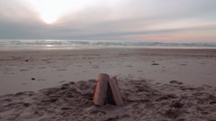 Bonfire Burning on a Beach - stock footage