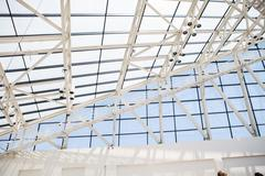 Fragment of roof from glass and a steel in style hi-tech - stock photo