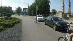 Cars on street in Tallinn in Estonia Stock Footage