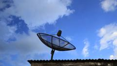 4k Time-lapse of Satellite dish with blue sky and cloud - stock footage