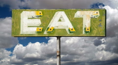 Vintage Eat Sign Time Lapse Stock Footage