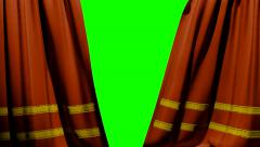 Curtains opening and closing stage theater cinema green screen 4K - stock footage