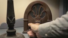 Radio old retro tuning bedroom hand Arkistovideo