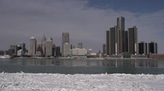 Detroit: Time Lapse GM Building/Skyline From Windsor Canada Stock Footage