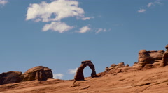 Delicate Arch Arches National Park Utah Time Lapse Centered Stock Footage