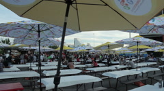 Busy outdoor food court PAN AM games Stock Footage