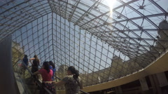 The Louvre Piramid From Inside Stock Footage