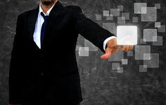 businessman hand pushing button on a touch screen interface in the old textur - stock illustration
