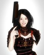 A Japanese lady in traditional Japanese armor is holding a shotgun - stock illustration