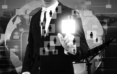 Businessman works with Social Network Display Stock Illustration
