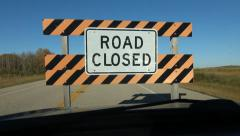 Driving up to ROAD CLOSED sign. Stock Footage