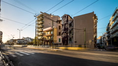 City Traffic - Athens, Greece - Metaxurgeio Mural Stock Footage
