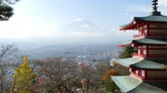 Mt.Fuji (Fujiyama) seen from Chureito Pagoda at Arakura Sengen shrine Stock Footage