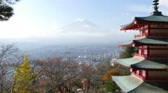 Stock Video Footage of Mt.Fuji (Fujiyama) seen from Chureito Pagoda at Arakura Sengen shrine
