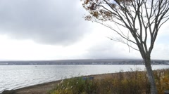 Mountain fuji with lake kawaguchi - stock footage
