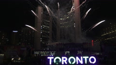 Fireworks at PANAMANIA Celebration at Nathan Phillips Square in the evening Stock Footage
