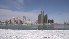 Detroit: Pan Across Skyline Mid Winter/Icy/Cold/Sunny Stock Footage
