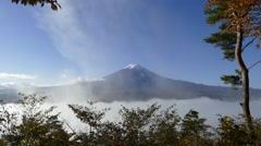 Stock Video Footage of Mt. Fuji with fall colors in Japan.