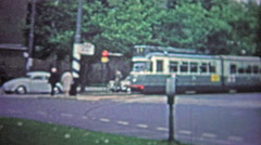 COPENHAGEN - 1966: Street cars were a popular form of public transportation in Stock Footage