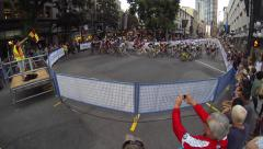 Bike race on city streets Stock Footage