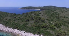 Aerial drone scene of natural island. Dalmatian coast. Croatia Stock Footage