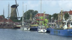 Various ships in the Havenkanaal Stock Footage