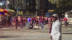 Columbus Circle Time lapse, crowds of people Stock Footage