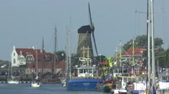The havenkanaal is the entrance to  Zierikzee Stock Footage