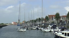 Sailing boats in the havenkanaal in Zierikzee Stock Footage