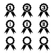 Set of 9 black award icons - stock illustration