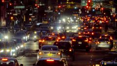 Night shot of congested street traffic on Manhattan New York City - stock footage